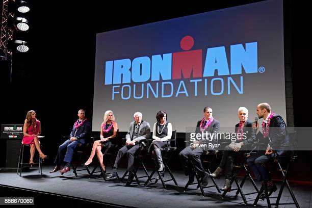 Shannon Spake Mike Ergo Kathleen McCartney Mike Levine Sian Welch Andy Potts Heather Jackson and Patrick Lange lead a QA session during the IRONMAN...
