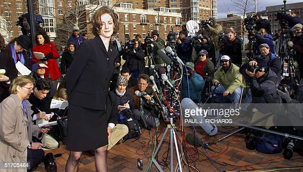 Shannon Spann wife of CIA agent Mike Spann who was slain in Afghnistan turns after delivering a statement to the media outside the Albert V Bryan...