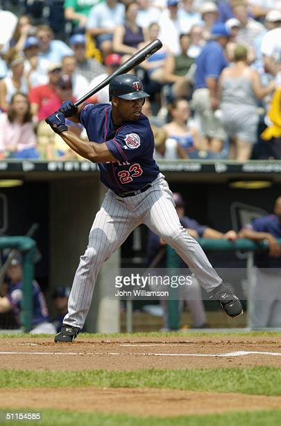 Shannon Stewart of the Minnesota Twins bats during the MLB game against the Kansas City Royals at Kauffman Stadium on July 17 2004 in Kansas City...