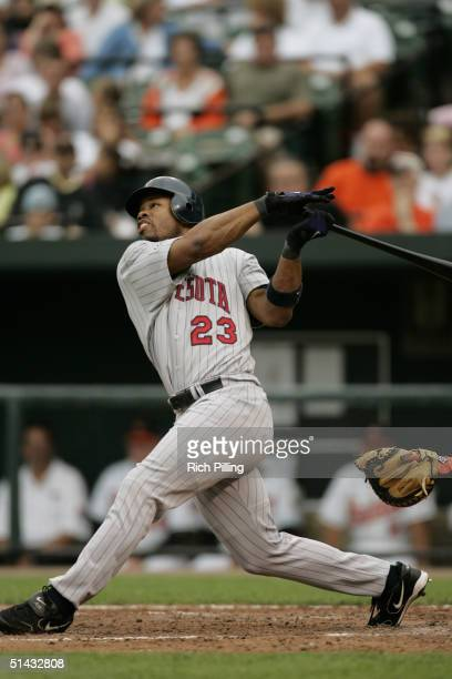 Shannon Stewart of the Minnesota Twins hits during the game against the Baltimore Orioles at Oriole Park at Camden Yards on September 6 2004 in...