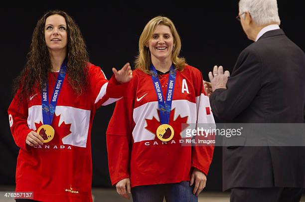 Shannon Szabados and Hayley Wickenheiser members of the 2014 Canadian Olympic Women's gold medal hockey team are introduced prior to the 2014 Tim...