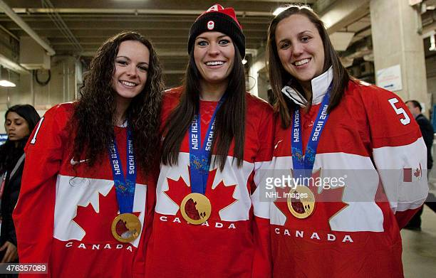 Shannon Szabados Natalie Spooner and Lauriane Rougeau members of the 2014 Canadian Olympic Women's gold medal hockey team pose for a photo prior to...