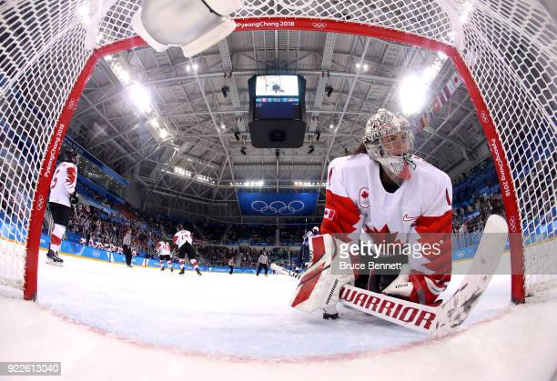 Shannon Szabados of Canada reacts after a firstperiod goal by Hilary Knight of the United States during the Women's Gold Medal Game on day thirteen...