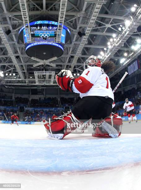Shannon Szabados of Canada tends the net against Switzerland during the Women's Ice Hockey Playoffs Semifinal game on day ten of the Sochi 2014...