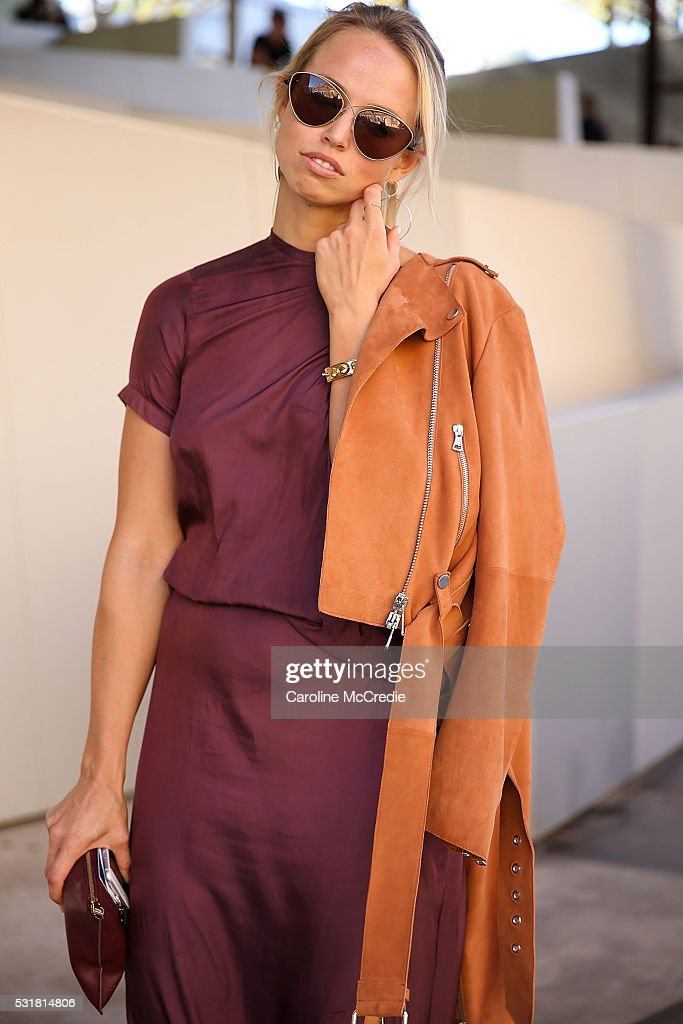 Shannon Thomas, wearing Kacey Devlin dress, Liven jacket and Celine heels, arrives at Mercedes-Benz Fashion Week Resort 17 Collections at Carriageworks on May 17, 2016 in Sydney, New South Wales.