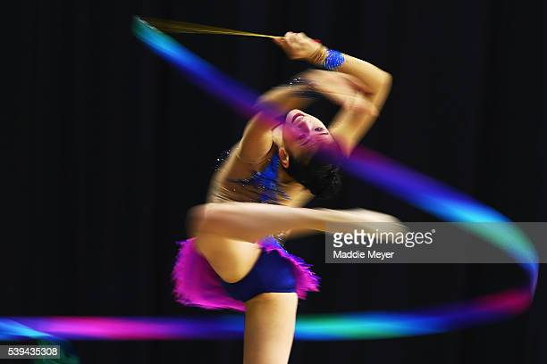 Shannon Tsang performs with the ribbon during 2016 USA Gymnastics Championships - Day 2 at the Dunkin' Donuts Center on June 11, 2016 in Providence,...