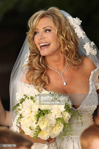 Shannon Tweed attends the wedding of Gene Simmons and Shannon Tweed at the Beverly Hills Hotel on October 1 2011 in Los Angeles California
