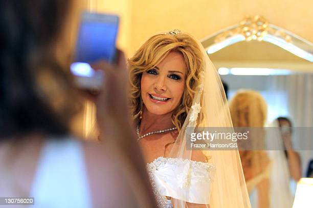 Shannon Tweed gets ready at her wedding to Gene Simmons at the Beverly Hills Hotel on October 1 2011 in Los Angeles California