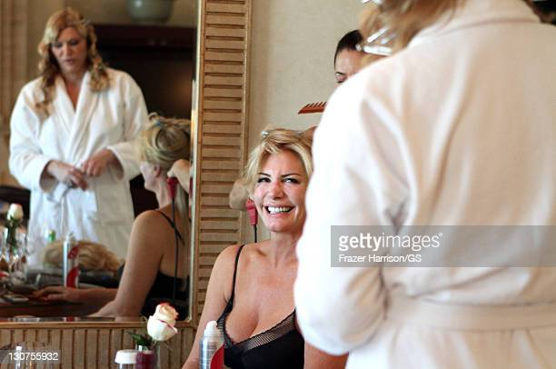 Shannon Tweed gets ready for her wedding to Gene Simmons with sister Tracy Tweed at the Beverly Hills Hotel on October 1 2011 in Los Angeles...