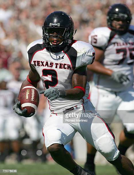 Shannon Woods of the Texas Tech Red Raiders carries the ball during the game against the Texas AM Aggies at Kyle Field on September 30 2006 in...