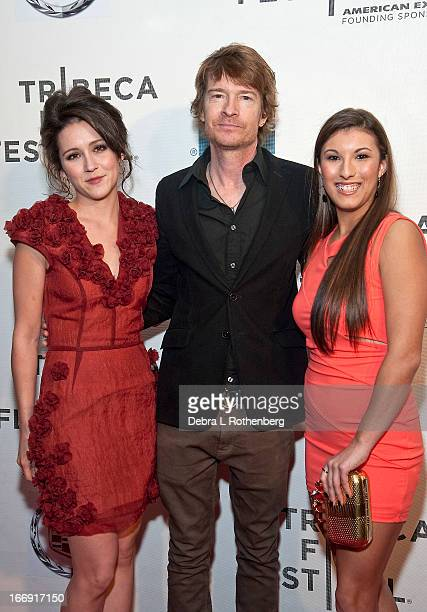 Shannon Woodward Scott Coffey and Leah Lauren attends the screening of Adult World during the 2013 Tribeca Film Festival at BMCC Tribeca PAC on April...