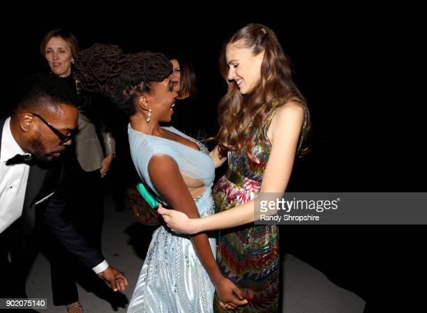 Shanola Hampton and Camila Mendes attend The Art of Elysium presents John Legend's HEAVEN at Barker Hangar on January 6 2018 in Santa Monica...