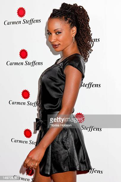 Shanola Hampton attends the Carmen Steffens U.S. West coast flagship store opening at Hollywood & Highland Center on August 2, 2012 in Hollywood,...