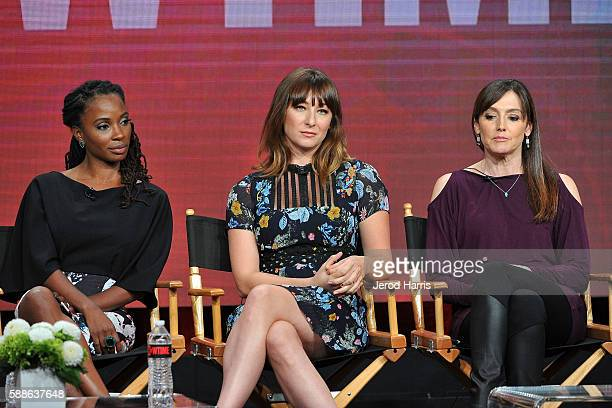 Shanola Hampton, Isidora Goreshter and Nancy M. Pimental speak onstage at the 'Love & Marriage On TV' panel discussion during the CW portion of the...