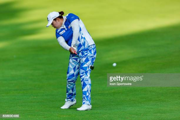 Shanshan Feng hits a fairway shot on the 9th hole during the first round of the Canadian Pacific Women's Open on August 24, 2017 at The Ottawa Hunt...