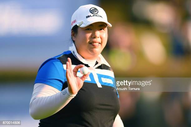 Shanshan Feng of China celebrates after making her biride putt on the 18th hole during the second round of the TOTO Japan Classics 2017 at the...