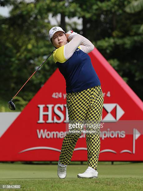 Shanshan Feng of China hits a tee shot on the third hole during the third round of the HSBC Women's Champions at Sentosa Golf Club on March 5 2016 in...