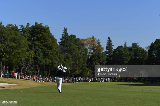 Shanshan Feng of China hits her second shot on the 2nd hole during the final round of the TOTO Japan Classics 2017 at the Taiheiyo Club Minori Course...