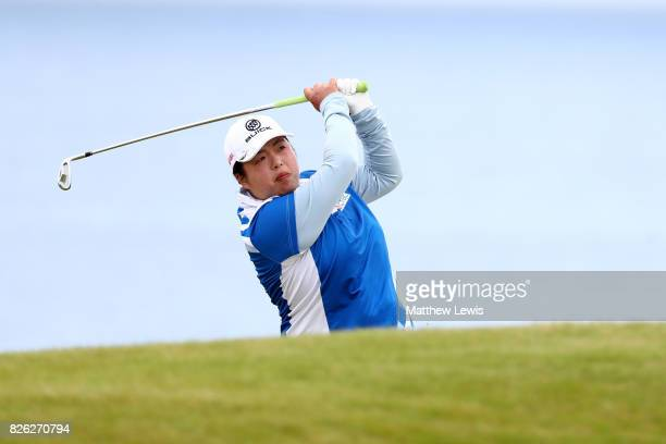 Shanshan Feng of China hits her second shot on the 4th hole during the second round of the Ricoh Women's British Open at Kingsbarns Golf Links on...
