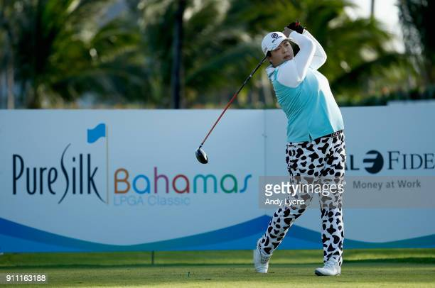 Shanshan Feng of China hits her tee shot on the 15th hole during the second round of the Pure Silk Bahamas LPGA Classic at the Ocean Club Golf Course...