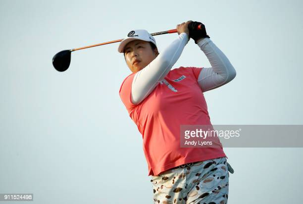 Shanshan Feng of China hits her tee shot on the 16th hole during the final round of the Pure Silk Bahamas LPGA Classic at the Ocean Golf Course on...