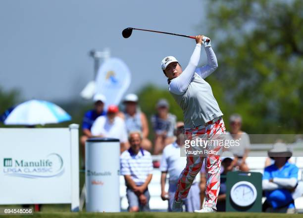 Shanshan Feng of China hits her tee shot on the 1st hole during the third round of the Manulife LPGA Classic at Whistle Bear Golf Club on June 10...