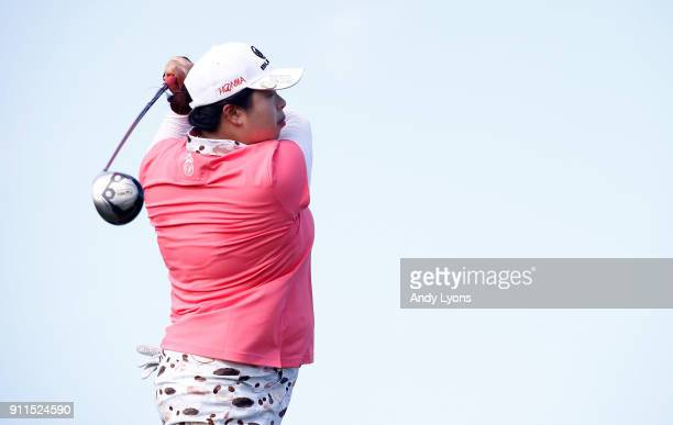 Shanshan Feng of China hits her tee shot on the 8th hole during the final round of the Pure Silk Bahamas LPGA Classic at the Ocean Golf Course on...