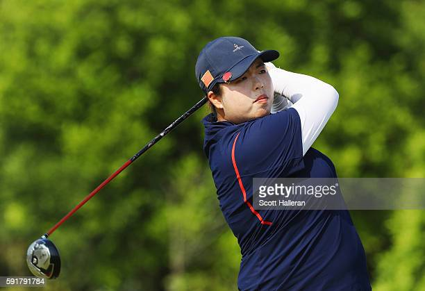 Shanshan Feng of China hits her tee shot on the fifth hole during the second round of the Women's Individual Stroke Play golf on Day 13 of the Rio...
