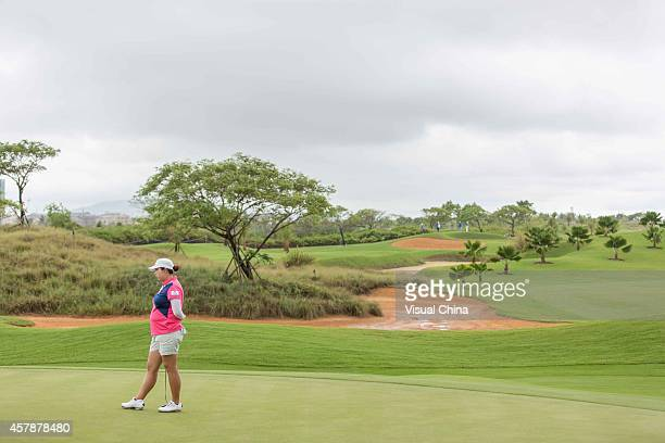 Shanshan Feng of China in action during day four of the 2014 Blue Bay LPGA at Jian Lake Blue Bay Golf Course on October 26 2014 in Hainan Island China