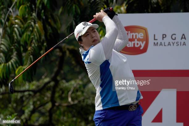 Shanshan Feng of China in action during day two of the Sime Darby LPGA Malaysia at TPC Kuala Lumpur East Course on October 27 2017 in Kuala Lumpur...