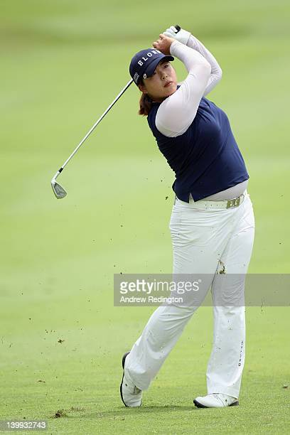 Shanshan Feng of China in action during the final round of the HSBC Women's Champions at the Tanah Merah Country Club on February 26 2012 in Singapore