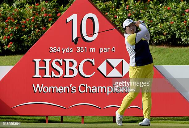 Shanshan Feng of China in action during the proam even prior to the HSBC Women's Champions at the Sentosa Golf Club on March 2 2016 in Singapore...