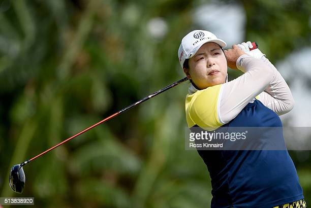Shanshan Feng of China in action during the third round of the HSBC Women's Champions at the Sentosa Golf Club on March 5 2016 in Singapore Singapore