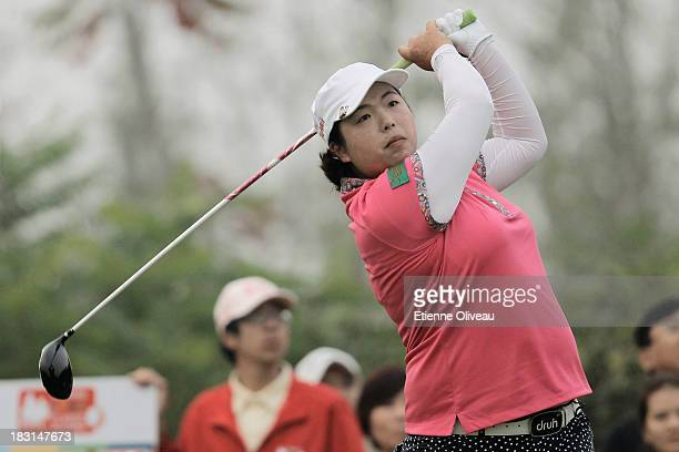 Shanshan Feng of China in action during the third round of the Reignwood LPGA Classic at Pine Valley Golf Club on October 5 2013 in Beijing China