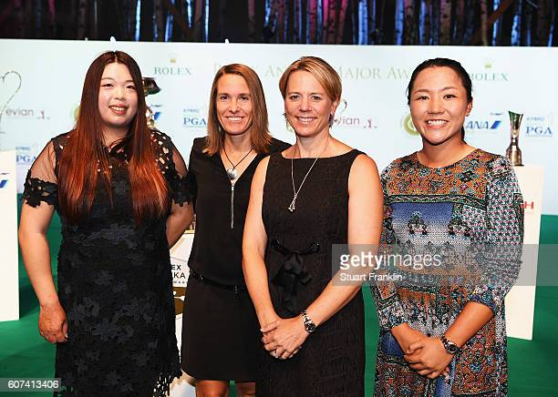 Shanshan Feng of China Justine Henin of Belgium Annika Sorenstram of Sweden and Lydia Ko of New Zealand at the Rolex Annika Major Awards after the...