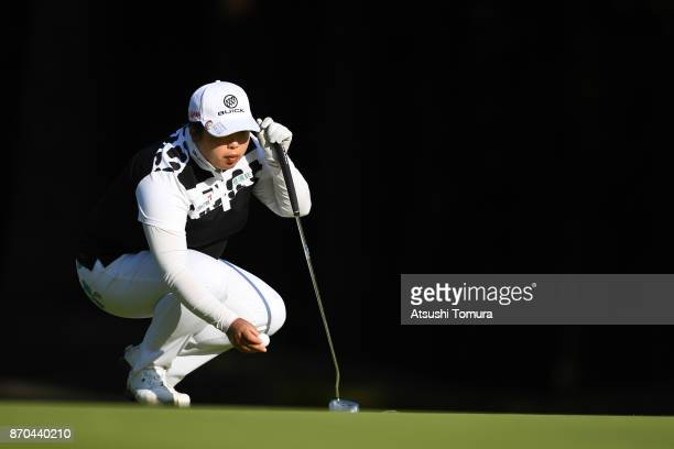 Shanshan Feng of China lines up a putt on the 16th hole during the final round of the TOTO Japan Classics 2017 at the Taiheiyo Club Minori Course on...