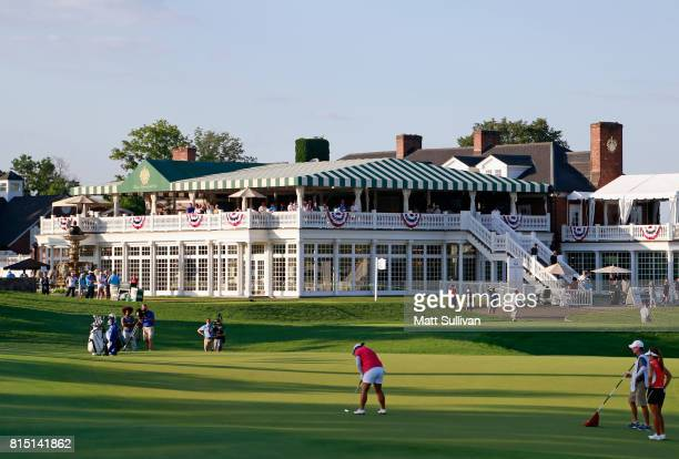 ShanShan Feng of China makes a birdie putt on the 18th hole during the third round of the US Women's Open Championship at Trump National Golf Club on...
