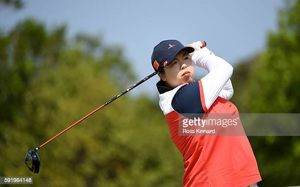Shanshan Feng of China on the 5th tee during the third round of the Women's Individual Stroke Play golf on day 14 of the Rio Olympics at the Olympic...