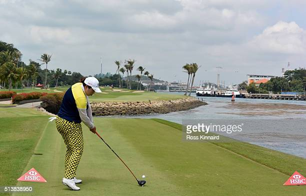 Shanshan Feng of China on the 6th tee during the third round of the HSBC Women's Champions at the Sentosa Golf Club on March 5 2016 in Singapore...