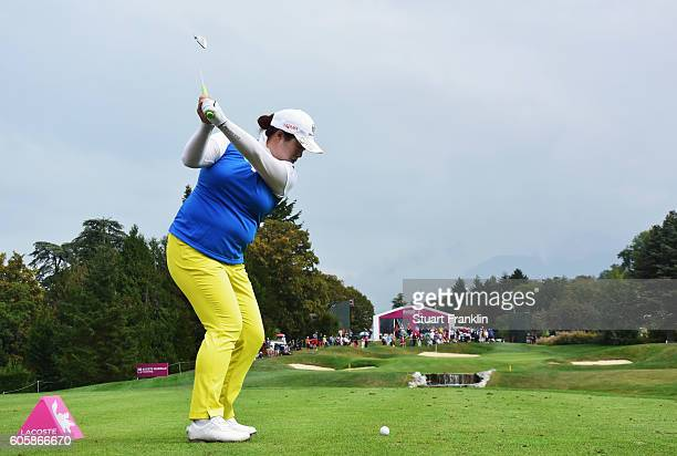 Shanshan Feng of China plays a shot during the first round of The Evian Championship on September 15 2016 in EvianlesBains France