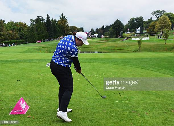 Shanshan Feng of China plays a shot during the second round of The Evian Championship on September 16 2016 in EvianlesBains France