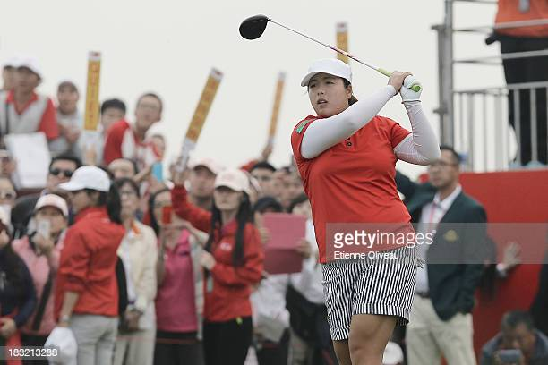 Shanshan Feng of China plays a tee shot during the final round of the Reignwood LPGA Classic at Pine Valley Golf Club on October 6 2013 in Beijing...