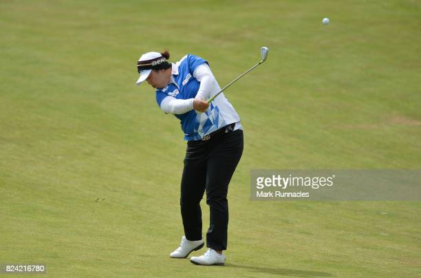 Shanshan Feng of China plays her second shot to the 1st hole during the third day of the Aberdeen Asset Management Ladies Scottish Open at Dundonald...