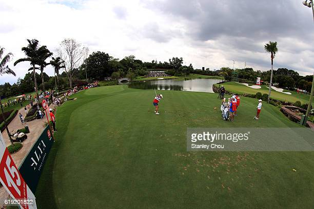 Shanshan Feng of China plays her tee shot on the 15th hole during day four of the Sime Darby LPGA at TPC Kuala Lumpur on October 30 2016 in Kuala...