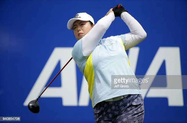 Shanshan Feng of China plays her tee shot on the first hole during the final round of the ANA Inspiration at Mission Hills Country Club on April 1...