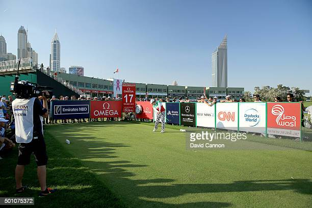 Shanshan Feng of China plays her tee shot on the par 4 17th hole during the final round of the 2015 Omega Dubai Ladies Masters on the Majlis Course...