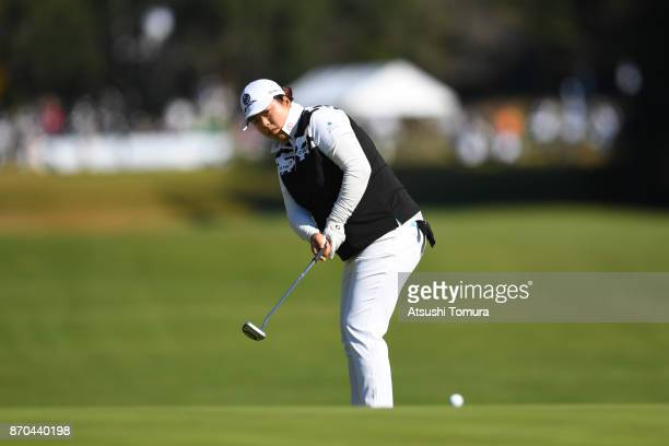 Shanshan Feng of China putts on the 1st hole during the final round of the TOTO Japan Classics 2017 at the Taiheiyo Club Minori Course on November 5...