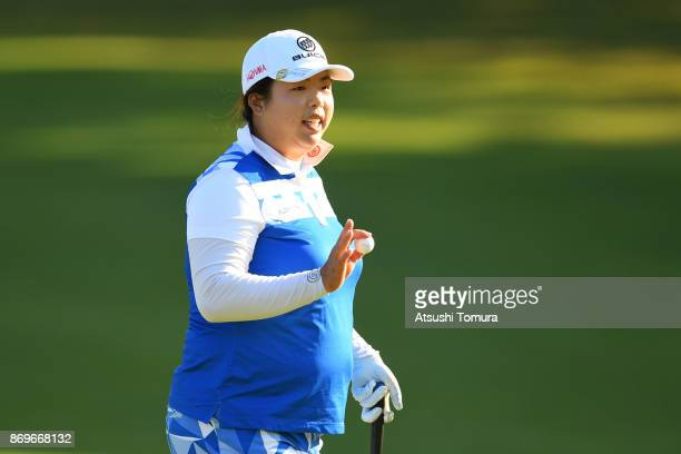 Shanshan Feng of China reacts during the first round of the TOTO Japan Classics 2017 at the Taiheiyo Club Minori Course on November 3 2017 in Omitama...
