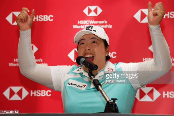 Shanshan Feng of China speaks to the media during a press conference prior to the HSBC Women's World Championship at Sentosa Golf Club on February 27...