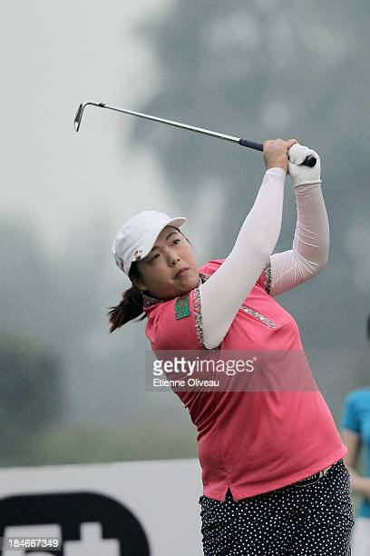 Shanshan Feng of China tees off on the 17th tee during the third round of the Reignwood LPGA Classic at Pine Valley Golf Club on October 5 2013 in...